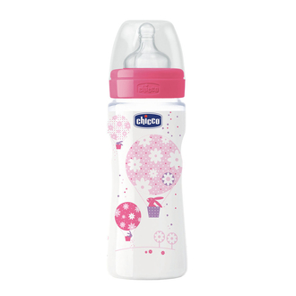 Бутылочка Chicco Well-being Girl 4 мес.+, сил. соска, РР, 330 мл