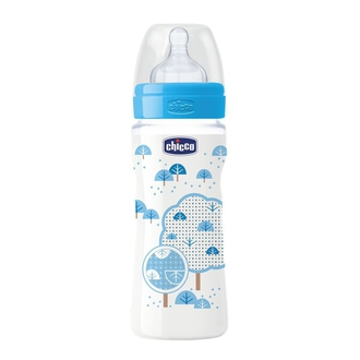 Бутылочка Chicco Well-being Boy 4 мес.+, сил.соска, РР, 330 мл 310205116