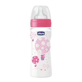 Бутылочка Chicco Well-being Girl 4 мес.+, сил.соска, РР, 330 мл 310205122