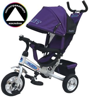 Велосипед 3-хколес.с руч. упр. цвет фиолетовый, тормоз, накл. спинка, коляс. крыша, сумка, пластик. кол. 10' и 8', в/к 60*27*41см