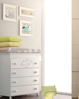 Комод пеленальный с декором Micuna Sweet Bear B-970(Цвет комода: White Матрасик: Stars Grey)