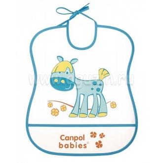 Нагрудник пластиковый мягкий Canpol арт. 2/919 цвет бирюзовый, рисунок лошадка