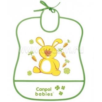 Нагрудник пластиковый мягкий Canpol арт. 2/919 цвет зеленый, рисунок зайка