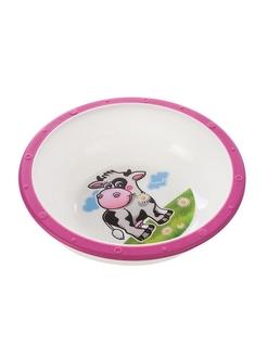 Миска пластиковая Canpol Little cow арт. 4/416, 4+ мес., цвет розовый, рисунок коровка