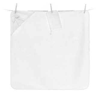 Полотенце-уголок Funnababy Premium Baby White 90x90 см варежка(Белый)