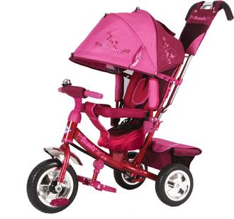 Велосипед 3-х колес. с руч. упр.,св. ход кол, накл.спинка, съемная коляс.крыша, регул. по выс. крыша и руль, тормоз, сумка, пласт.кол 10'и8'