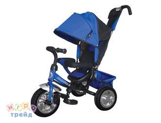 Велосипед 3-хколес.с руч. упр., цвет синий, накл.спинка, коляс. крыша, тормоз, сумка, пласт. кол. 10' и 8', в/к 60*27*41см