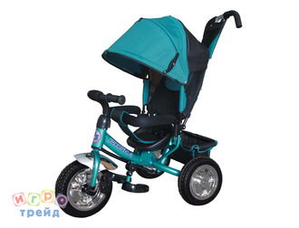 Велосипед 3-хколес.с руч. упр., цвет аква, накл.спинка, коляс. крыша, тормоз, сумка, пласт. кол. 10' и 8', в/к 60*27*41см