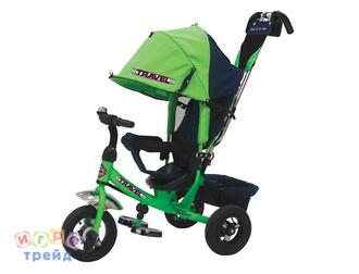 Велосипед 3-х колес. с руч. упр.,св. ход кол, накл.спинка, съемная коляс.крыша, регул. по выс. крыша и руль, тормоз, сумка, надув.шины 10'и8'