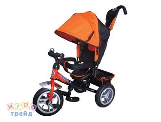 Велосипед 3-хколес.с руч. упр. цвет оранж. тормоз, накл.спинка, коляс. крыша, сумка, надувн. кол. 12' и 10', в/к 60*30*41см