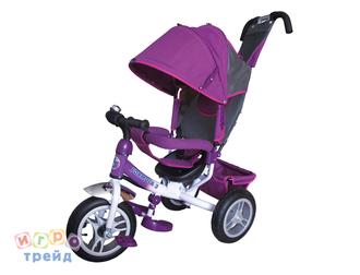 Велосипед 3-хколес.с руч. упр. цвет фиолет, тормоз, накл. спинка, коляс. крыша, сумка, надувн. кол. 12' и 10', в/к 60*30*41см