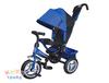 Велосипед 3-хколес.с руч. упр. цвет синий, тормоз, накл. спинка, коляс. крыша, сумка, надувн. кол. 12' и 10', в/к 60*30*41см