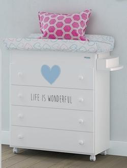 Комод пеленальный с декором Micuna Wonderful B-970(Цвет комода: White/Blue Матрасик: Hearts)
