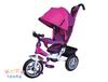 Велосипед 3-хколес.с руч. упр. цвет розов, тормоз, накл. спинка, коляс. крыша, сумка, надувн. кол. 12' и 10', в/к 60*30*41см