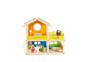 Деревянная игрушка Hape Кукольный домик с мебелью и фигурками Е3402