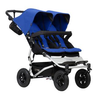 Детская прогулочная коляска для двойни и погодков Mountain Buggy Duet 3.0 Marine Черная с синим