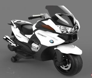 Мотоцикл на аккум. 12V7AH*1, 2 мотора*35W, 2 скорости, боковые колеса, разм. 110*40*60, цвет - белый