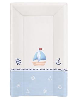 Пеленальный матрац на кровать Ceba Baby 70 см на жёстком основании(W-201-010-009 Marine White/Blue)